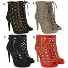 Ladies Lace Up High Heel Peep Toe Gladiator Cut Out Platforms Sandals Shoes Size