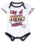 MLB Infants Cleveland Indians Peanuts Love Baseball Creeper, White