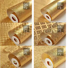 10 x 0.53m Luxury Golden 3D Glitter Gold Foil Wallpaper Roll KTV & Living Room