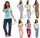 Ladies Summer Pyjamas 100% Cotton T-Shirt Crew V Neck Plain Floral Leopard Print