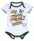 MLB Infants Oakland A's Athletics Peanuts Love Baseball Creeper, White