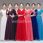 Women Lace Chiffon V Neck Evening Party Ball Gown Wedding Bridesmaids Long Dress