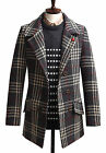 Mens Luxury Slim Fit Check Double Breasted Coat Blazer Jacket Jumper W020 - S/M
