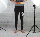 Black Elvis Print Design Womens Spandex Leggings Gym Yoga Fashion Made In Uk