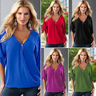 Sexy Womens Ladies Summer V Neck Blouse Casual Short Sleeve Loose T-shirts Tops