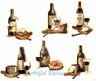 Ceramic Decals Wine Bottle/Glass Cheese Gourmet  6 Designs