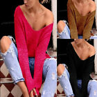 Fashion Knitted Pullover Women Sexy V Neck Long Sleeve Solid Blouse Tops T Shirt