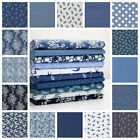all new  DENIM INDIGO NAVY FLORAL DOT BIRD 100% COTTON POPLIN FABRIC dressmaking