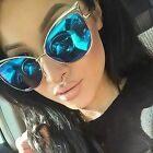 Femme Oversized Mirrored Reflective Cutout Lenses Women Large Cat Eye