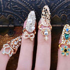 Women Pretty Bowknot Nail Ring Charm Crown Flower Crystal Finger Nail Rings EW