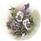 Ceramic Decals Purple Pansy Flower Floral Hummingbird image