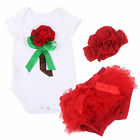 3pcs Top+Pants+Headband Set Baby Girls Toddler Outfits Romper Summer Clothes S05