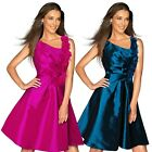 Womens Girls Wedding Party Bridesmaid Asymmetric Pleated Taffeta Skater Dress