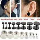 4/8 Pcs Mens Women Flat Round Punk Plug Ear Clip Barbell Studs Earrings All Size