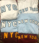 New York NYC Sweater Sweatshirt Hooded Hoody White Blue Small Meduim Large Extra