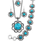 Retro 4 In 1 Necklace Bracelet Earrings Ring SunFlower Turquoise Jewelry Sets