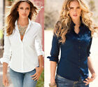 Women Sexy cotton V Neck Casual long Sleeve Tops Blouse Tee Shirt Top plus size