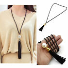 1Pc Leather Tassels Charm Beads  Pendant Long Chain Sweater Necklace Jewelry