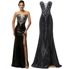 Ladies Long Sequin Evening Gown Bridesmaid Dress Prom Formal Party Ball Gown New