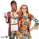 Adult Couple Mens Ladies 60s 70s Flower Power Groovy Hippy Fancy Dress Costume