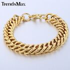 14mm Boy Men Chain DOUBLE CURB Rombo Link Gold Tone Stainless Steel Bracelet NEW