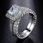 Handmade Vintage Women Princess Cut AAA CZ White Gold Filled Wedding Ring Sets