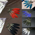 Fashion Women Ethnic Style Feather Pendant Vintage Necklace Sweater Chain