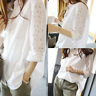 UK 8-20 Women Hollow Crochet Button Down Collar Casual Tops Shirt Blouse
