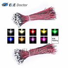 10 30 50pcs Pre Wired DC 9-12V 3 5 8 10mm Water Clear LED Diodes White Red Light <br/> Soldered 20CM Line Yellow Green Blue Pink uv RGB Flash