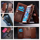 Multifunction Leather Removable Wallet Card Hanging pockets Case Cover For Phone