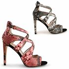 WOMENS LADIES DOLCIS CROSSOVER STILETTO HIGH HEEL ANKLE STRAPPY PEEP TOE SHOES
