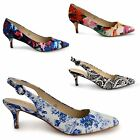 WOMENS LADIES DOLCIS LOW KITTEN HEEL PUMPS POINTED TOE WORK COURT SHOES SIZE
