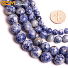 Natural Stone White & Blue Sodalite Gemstone Beads For Jewelry Making 15""
