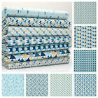 Le MOTIF 2 - TEAL & AQUA BLUE - GEOMETRIC PRINTS 100% COTTON FABRIC yellow grey