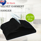 20/60Pcs Coat Hangers Bulk Clothes Hanger Black Velvet Non Slip Ultra Thin AU