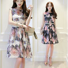 Summer new women organza dress printing Korean Fashion Slim long section of the