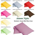 NEW UK Pillow Case Single & Pair Plain Dyed Standard Pillow case/cover Colours