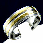 New Two Tone Stainless Steel Mens Engagement Wedding Anniversary Band Ring