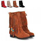 New Lady Autumn Pointed Toe Flat Shoes Tassle Ethnic Booties Nubuck Short Boots