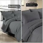 NEW 600 800 1000 1200 TC Egyptian Cotton UK Fitted/Flat/Duvet Gray Solid/Striped