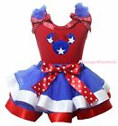 Star Minnie 4th July Red Cotton Top BWR Satin Trim Skirt Girls Outfit Set NB-8Y