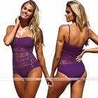 Sexy Women Purple Halter Lace Halter Lace Bathing Suit Beach Bikini Swimwear