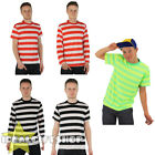 STRIPED T SHIRT TOP BLACK WHITE RED GREEN YELLOW FANCY DRESS SHORT LONG SLEEVE