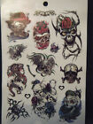 1x SHEET BLACK MENS BOYS SCARY SKULL HALLOWEEN GOTH 6 DESIGNS TEMPORARY TATTOOS