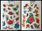 1x SHEET 13x19cm GIRLS TEMPORARY TATTOOS 10-20 ROSES HEARTS FLOWERS BUTTERFLY