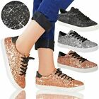 Womens Ladies Lace Up Flats Low Heels Glitter Trainers Skater Pumps Style Size