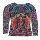 Wild Rose Ladies Tattoo Shirt PRAYER Buddha Lotus Blue Full Body Tattoo Sleeve