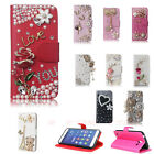 Bling Crystal Diamond Pearl PU Leather Card Stand Case Cover For iPhone/Samsung