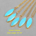 Wholesale 5Pcs Marquise Blue Howlite Turquoise Necklace Gold Plated HOT BG0836-N