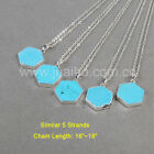 Wholesale 5Pcs Hexagon Blue Howlite Turquoise Necklace Silver Plated BS0837-N